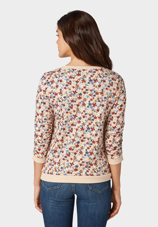 Camisola bege com print florido para mulher da Tom Tailor