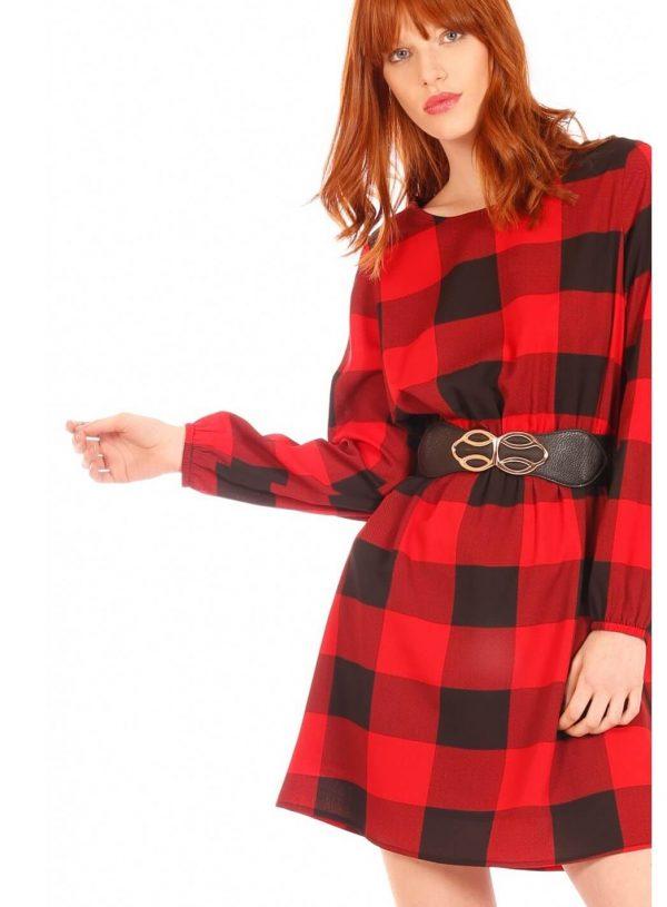 Vestido xadrez preto e vermelho da Minueto