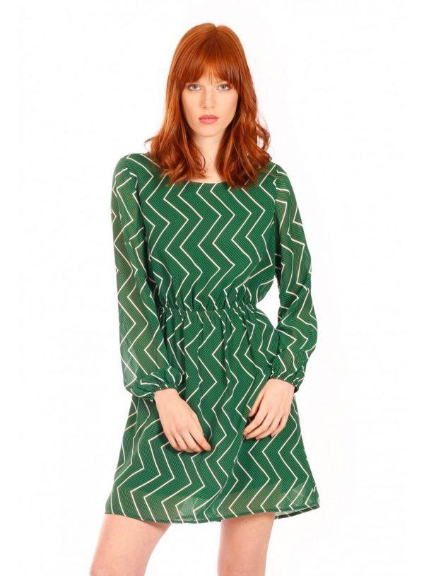 Vestido verde zig zag da Minueto