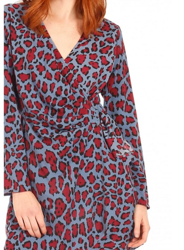 Vestido leopardo azul para mulher da Minueto
