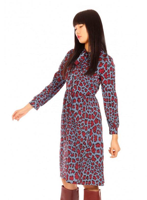 Vestido longo leopardo azul para mulher da Minueto