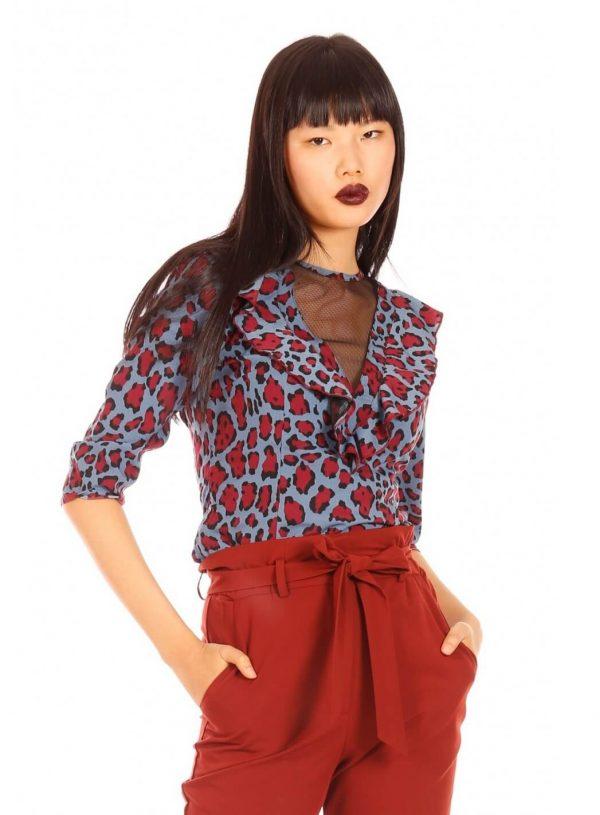 Blusa leopardo azul para mulher da Minueto