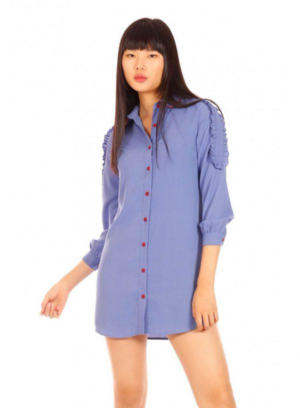 Vestido túnica em azul com bordado para mulher da Minueto