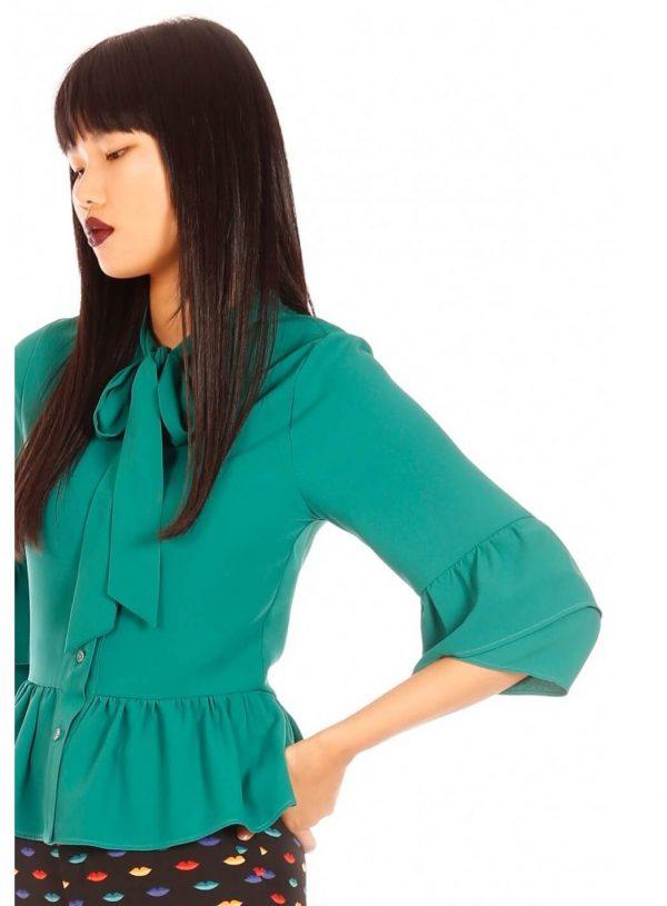 Blusa verde com folhos para mulher da Minueto