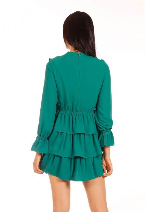 Vestido verde com folhos da Minueto