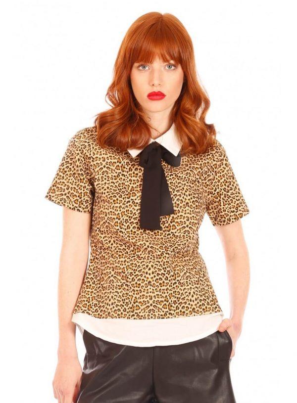 Camisola em print leopardo com gola para mulher da Minueto