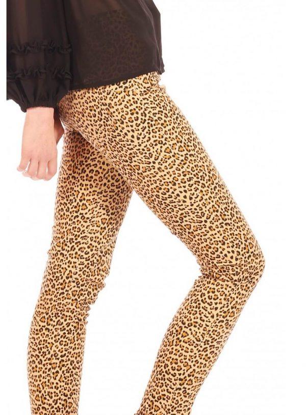 Calças justas com print leopardo da Minueto