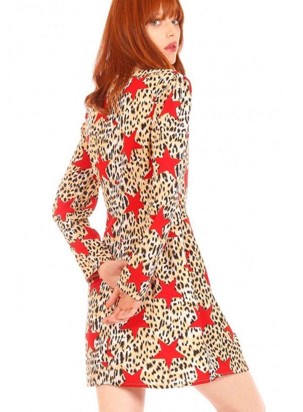 Vestido com print leopardo estrelado da Minueto