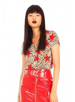 Body com print leopardo estrelado da Minueto