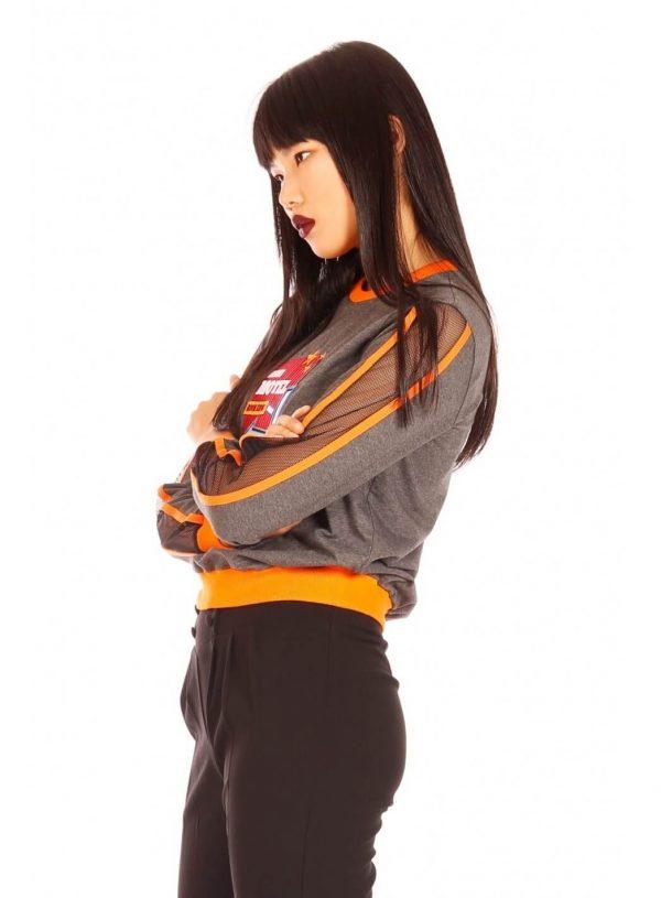 Sweatshirt cinza neon para mulher da Minueto