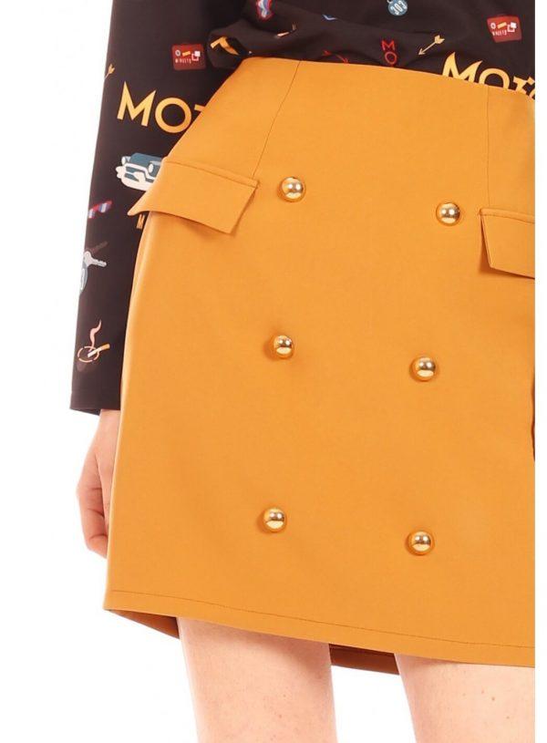 Saia amarela com botões da Minueto