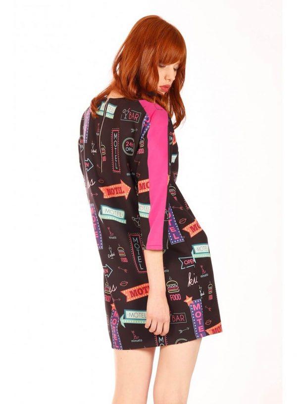 Vestido simples print neon para mulher da Minueto