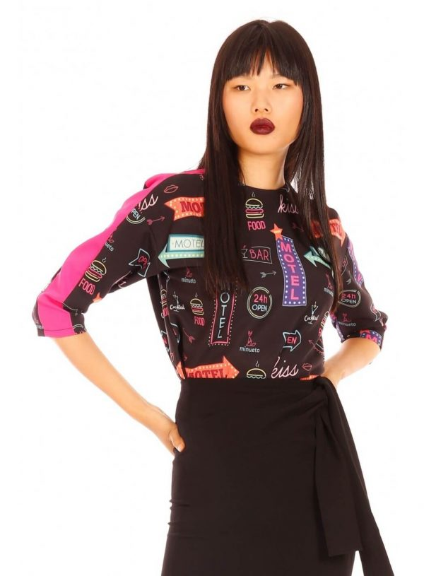 Camisola print neon para mulher da Minueto