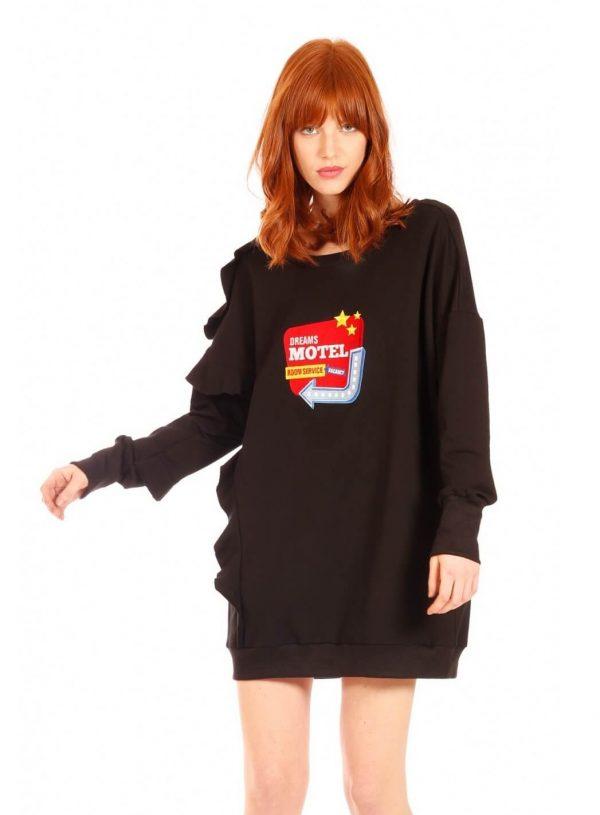 Vestido de malha preta com estampa da Minueto