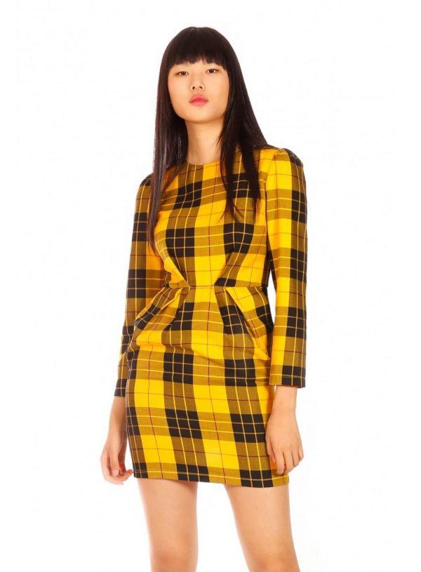 Vestido amarelo em xadrez para mulher da Minueto