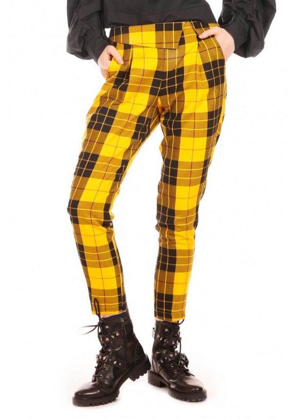 Calça amarela em xadrez para mulher da Minueto