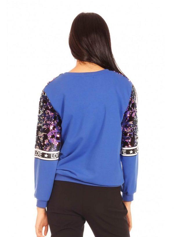 Camisola blingbling azul para mulher da Minueto