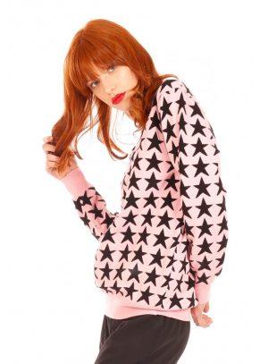 Camisola rosa com estrelas pretas para mulher da Minueto