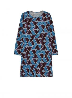 Vestido de malha com print geométricos da Md`m