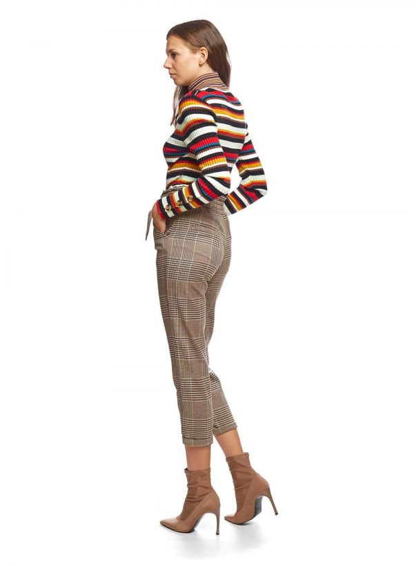 Calça de xadrez com cinta alta para mulher da Md`m