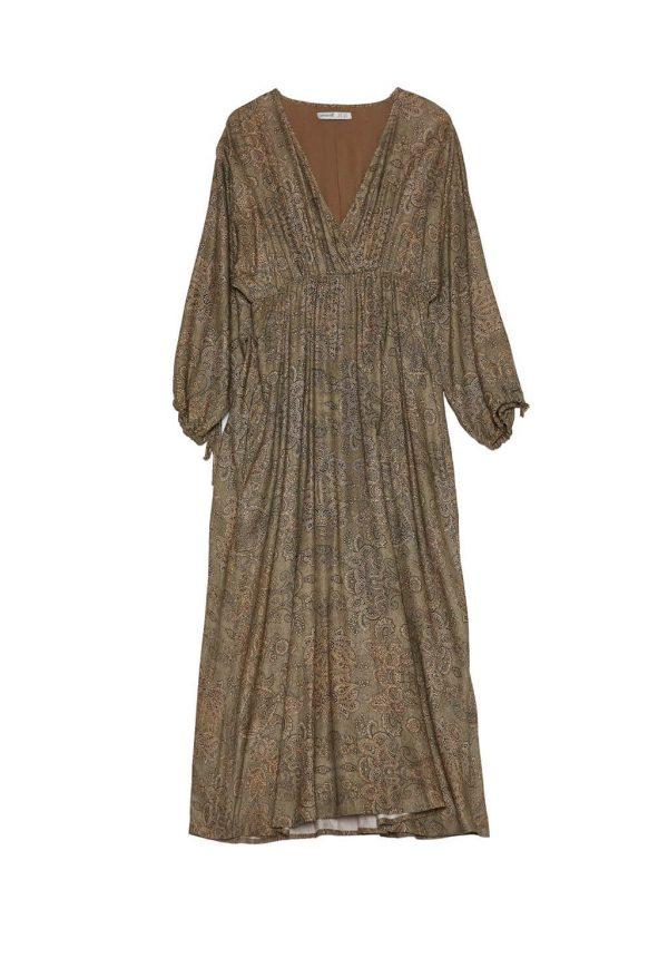 Vestido comprido em print cornucopias da Van-Dos