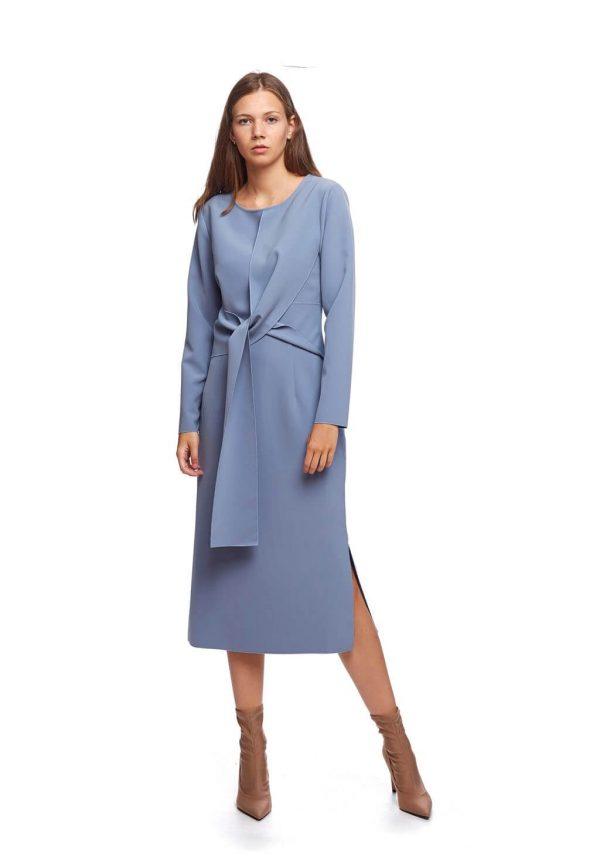 Vestido azul largo com laço da Van-Dos
