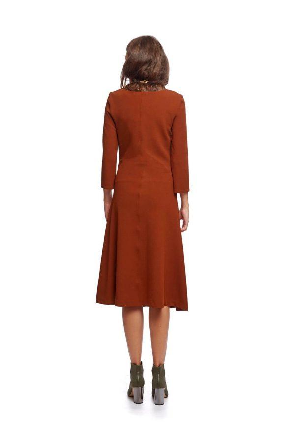 Vestido de malha laranja manga 3/4 da Van-Dos