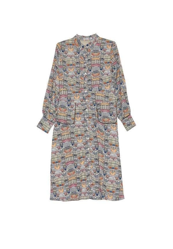 Vestido em print abstrato com bolsos da Van-Dos
