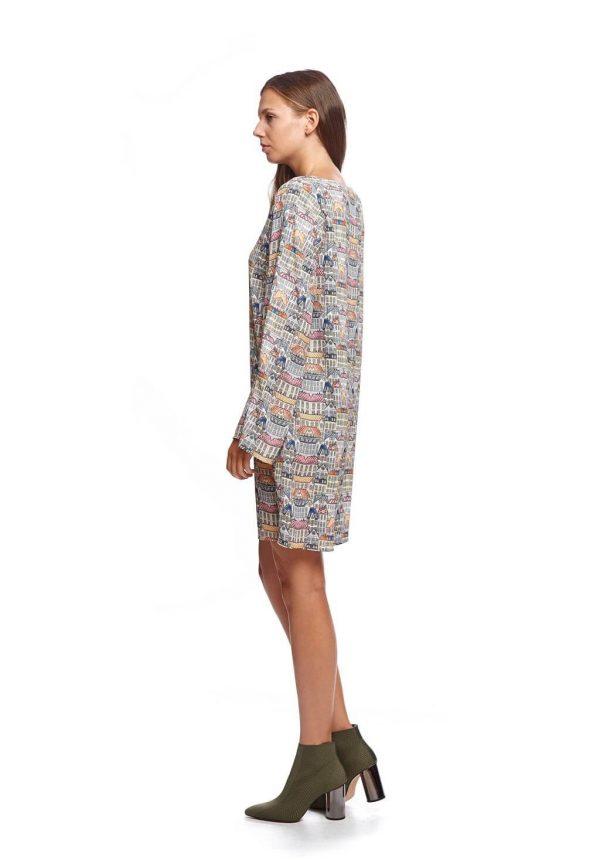 Vestido com print abstrato da Van-Dos