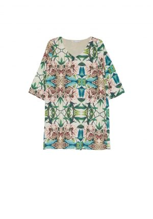 Vestido básico com print floral da Van-Dos