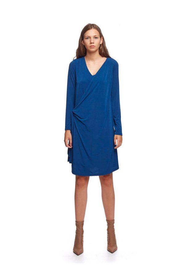 Vestido de malha azul porto da Van-Dos