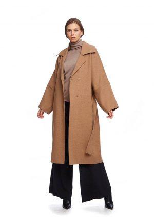 Sobretudo traçado camel com cinto para mulher da Van-Dos