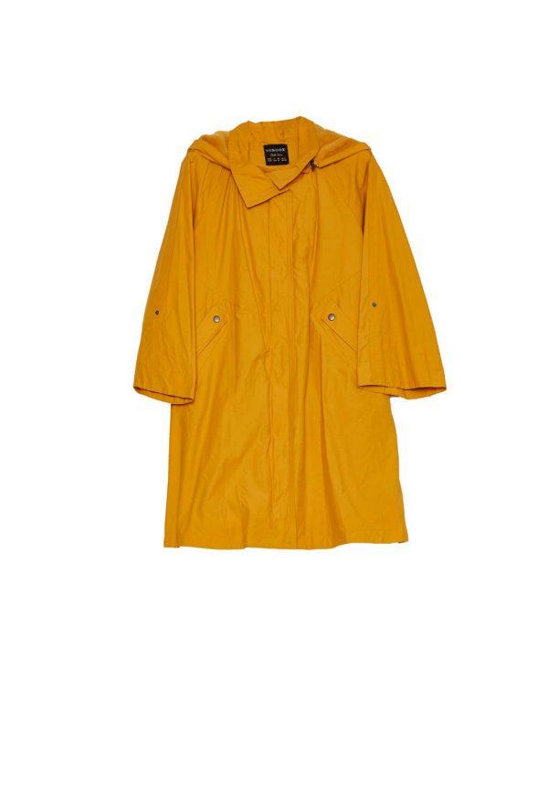 Gabardina amarela com pelo no capuz para mulher da Van-Dos