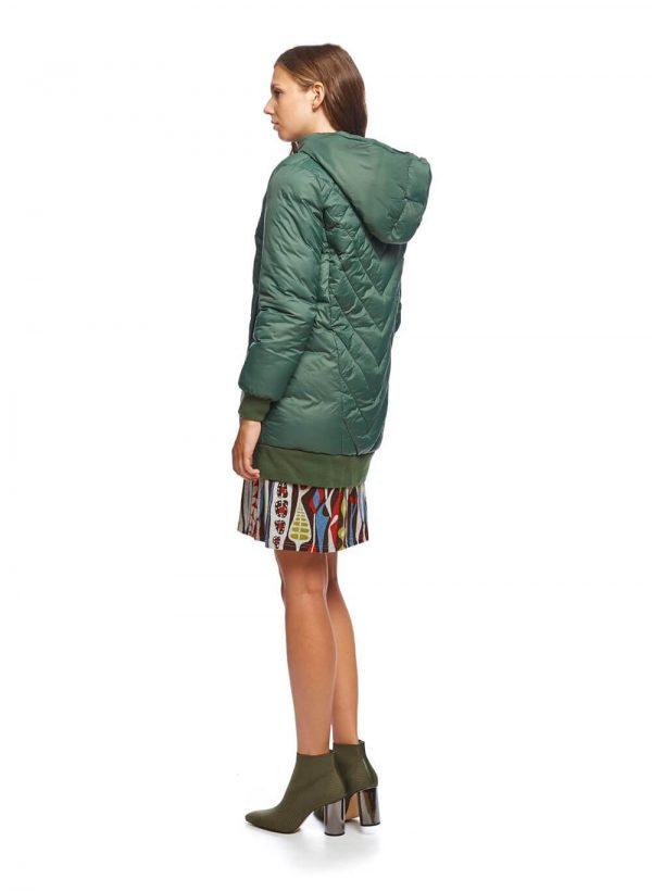 Parka verde acolchoada com capuz para mulher da Md`m