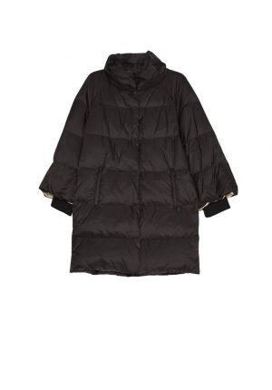 Parka preta comprida com capuz para mulher da Van-Dos
