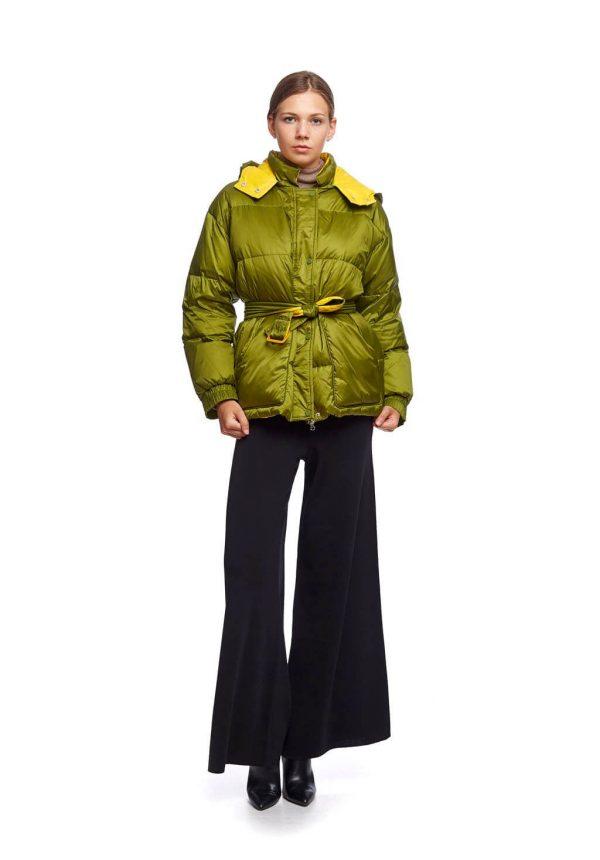 Parka verde curta com cinto para mulher da Van-Dos