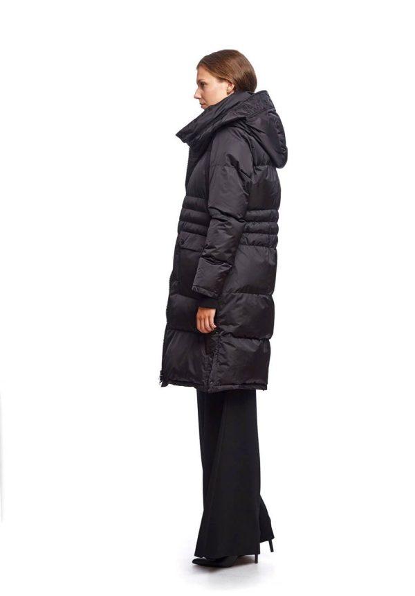 Parka comprida preta com capuz para mulher da Van-Dos