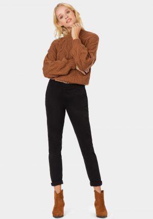 Calça básica em preto com cinto para mulher da Tiffosi