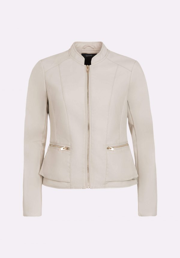 Blusão branco sujo de napa para mulher da Tiffosi