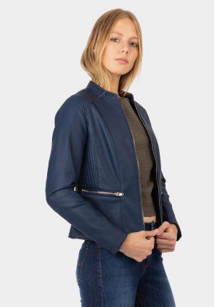 Blusão azul marino de napa para mulher da Tiffosi