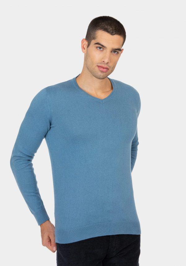 Camisola azul claro com decote em bico para homem da Tiffosi