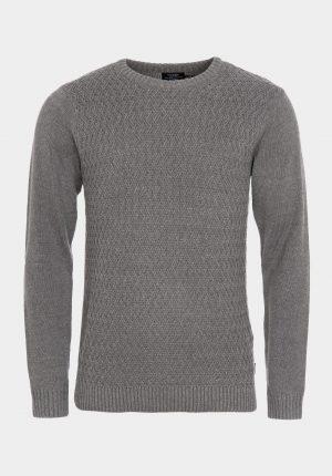 Camisola cinza decote redondo e malha entrelaçada para homem da Tiffosi