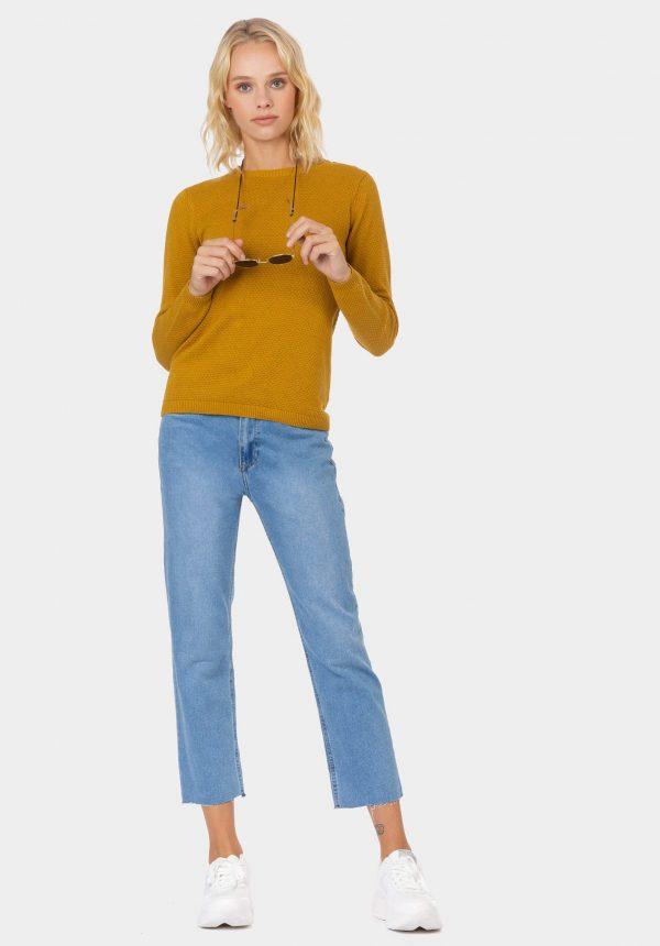 Camisola básica em mostarda para mulher da Tiffosi
