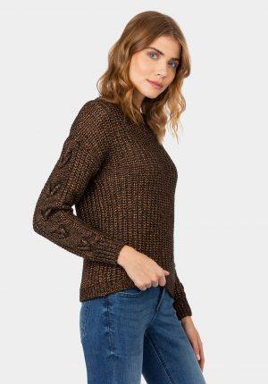 Camisola de malha cor cobre para mulher da Tiffosi
