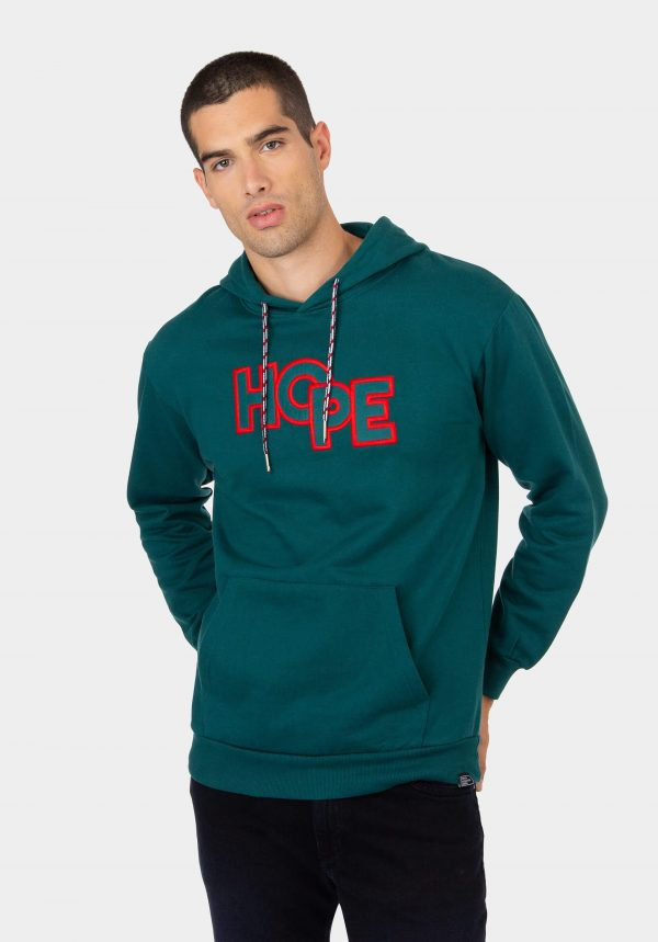 Hoodie verde com letras vermelhas para homem da Tiffosi