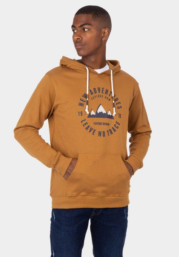 Hoodie slim fit camel para homem da Tiffosi