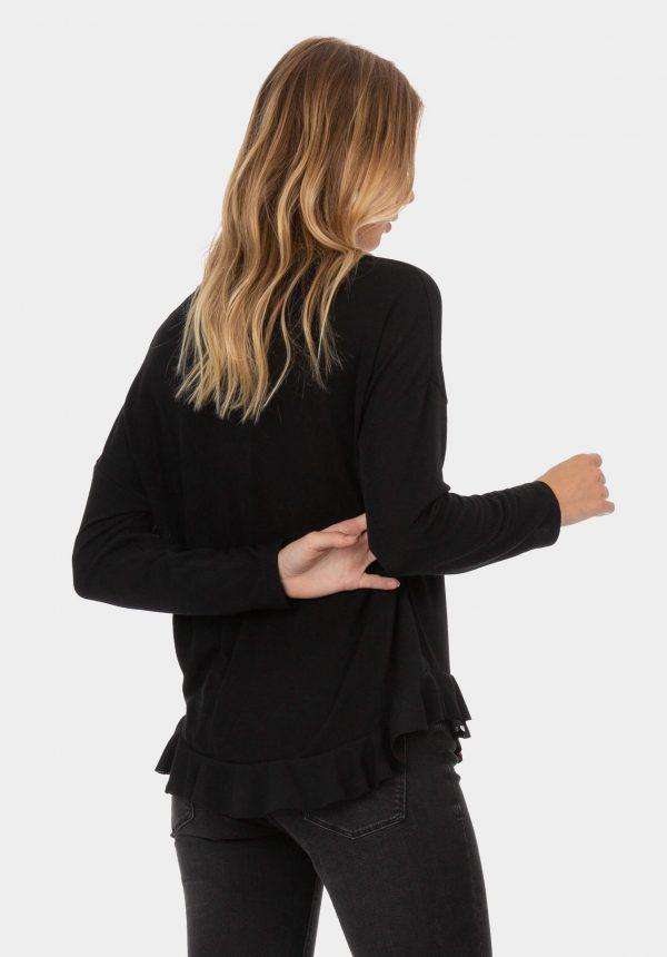 Camisola preta com folho duplo para mulher da Tiffosi
