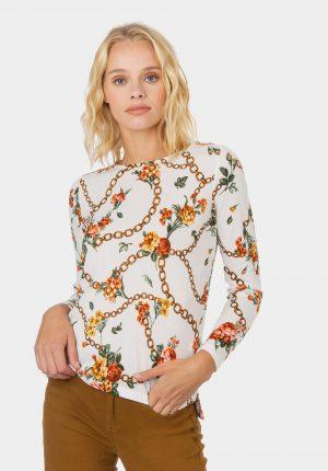 Camisola de malha branca com padrão correntes para mulher da Tiffosi