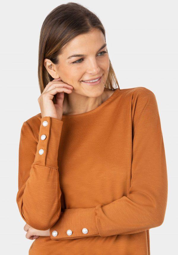 Vestido simples de malha camel da Tiffosi