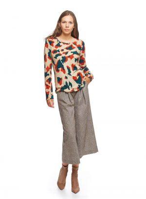 Camisola bege com padrão camuflado para mulher da Md`m